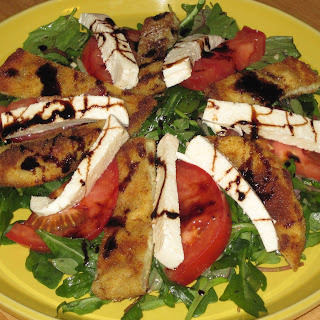 Deconstructed Eggplant Parm Salad with Balsamic Reduction.