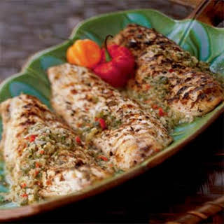 French West Indian Grilled Snapper with Caper Sauce.