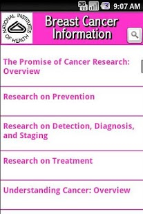 NIH: Breast Cancer Information- screenshot thumbnail