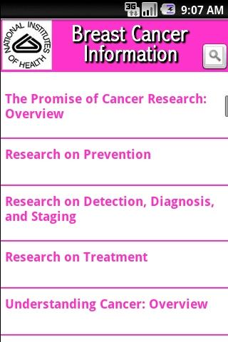 NIH: Breast Cancer Information- screenshot