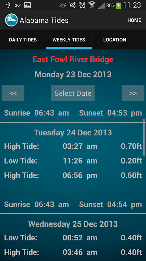Alabama Tide Times- screenshot
