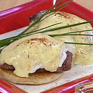 Quail eggs Benedict and caviar