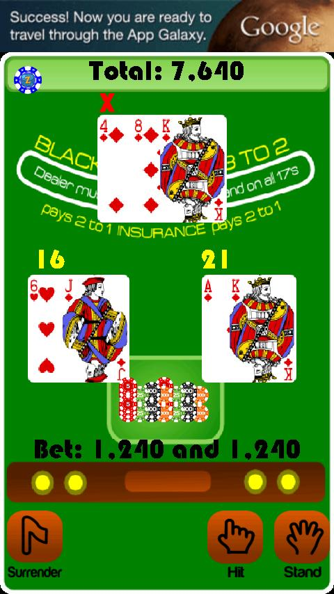BlackJack Casino Card Game - screenshot