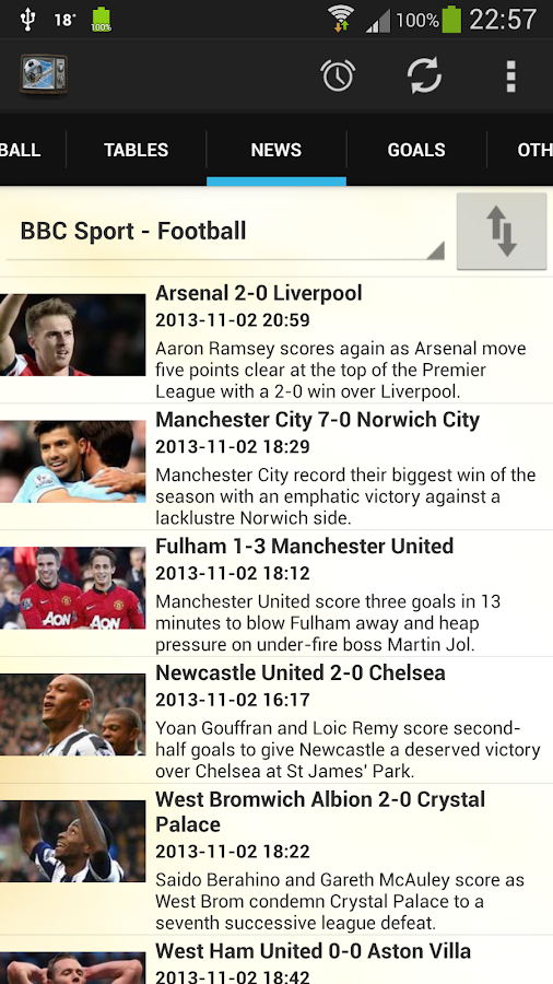 Football on TV - screenshot