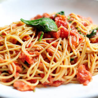 Pasta with Tomato-Blue Cheese Sauce.