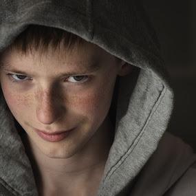 Hooded by Gerd Moors - People Portraits of Men ( looks, teenager, white, grey, gray, hoody,  )
