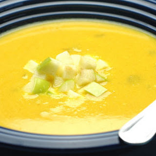 Creamy Yellow Squash and Apple Curry Soup with Toasted Coconut.
