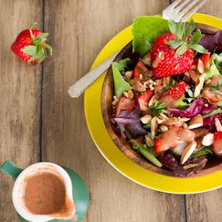 Spring Salad with Strawberry Lemon Basil Dressing.