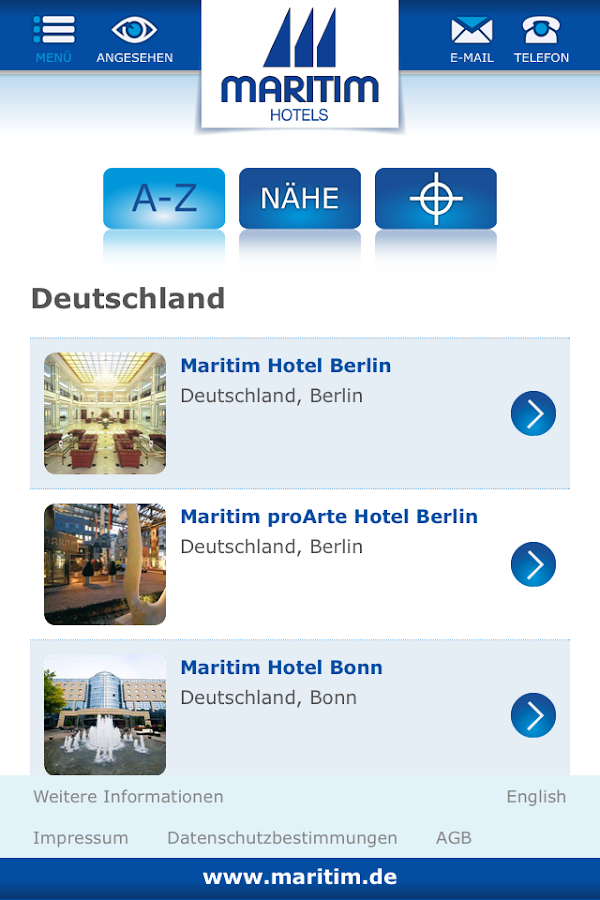 Maritim Hotels App- screenshot