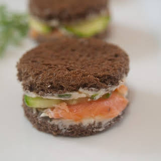 Cucumber and Smoked Salmon Sandwiches with Horseradish Butter.