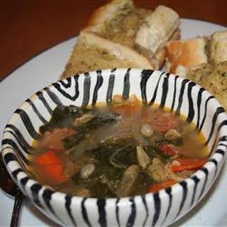 Kale Soup with Portuguese Sausage.