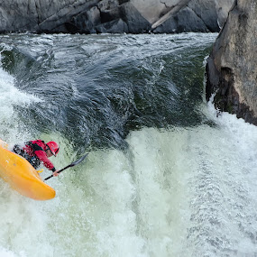 The Plunge by Nancy Arehart - Sports & Fitness Watersports ( extreme, waterfall, virginia, kayak, paddle )