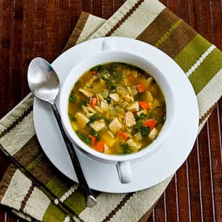 Slow Cooker Lemony Turkey Soup with Spinach and Orzo.