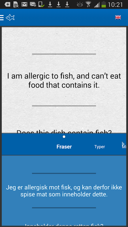 Allergy Phrasebook- screenshot