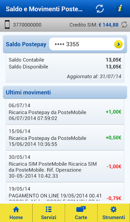 PosteMobile - screenshot