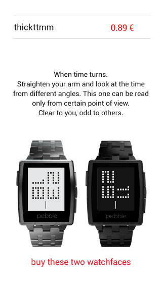 TTMM - watchfaces for Pebble - screenshot