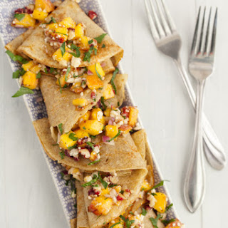 Savory Rye Crepes with Peaches and Blue Cheese.