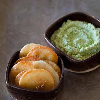 Edamame Dip with Homemade Japanese Rice Crakers (Senbei).