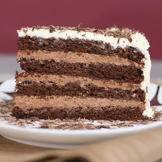 Chocolate Layer-mousse Cake With Cognac And Bittersweet Chocolate Curls.