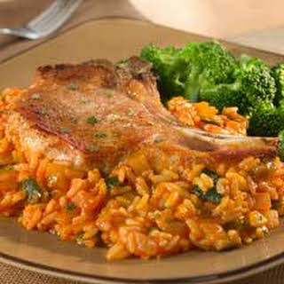 Pork Chops With Red Tomato Rice.