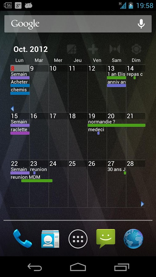 Pure Grid calendar widget- screenshot