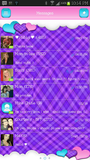 GO SMS - Loving Hearts 2