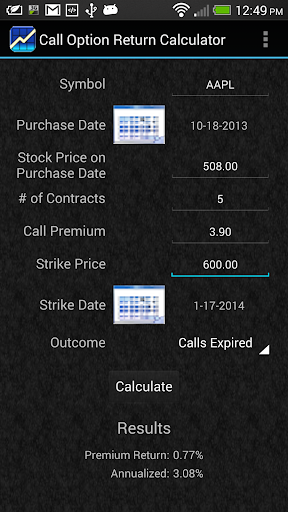 Call Option Return Calculator