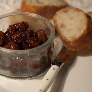 Baked Camembert with Caramelized Grape Chutney.