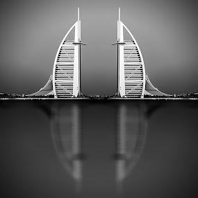 Twins of Burj Al Arab by Ashraf Ahmed Habib - Black & White Buildings & Architecture ( building, black and white, dubai, uae, burj al arab, reflections, cityscape, hotel, architecture )