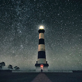 They Only Come Out At Night by Robert Fawcett - Landscapes Starscapes ( bodie island, stars, lighthouse, places, travel, north carolina,  )