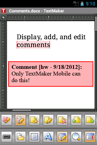 Office 2012: TextMaker Mobile - screenshot