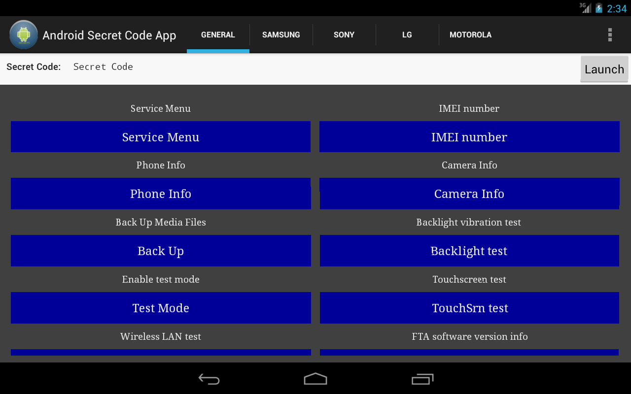 Android Secret Code App - screenshot
