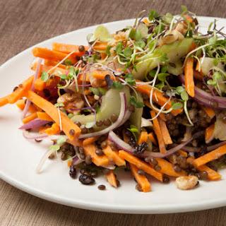 Warm Winter Sweet Potato Salad with Beluga Lentils & Cider Vinaigrette