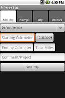 Screenshot of Mileage Logger