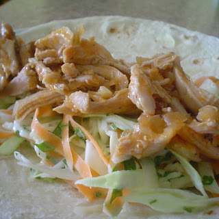 Shredded Chicken and Coleslaw Wrap.