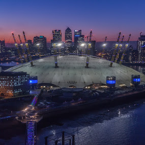 O2 Arena and Canary Wharf at sunset by Augustin Galatanu - City,  Street & Park  Skylines ( office, water, skyline, building, view from the top, canary wharf, o2 arena, cityscape, architecture, emirates air line, gondola, london, sunset, landscapes )