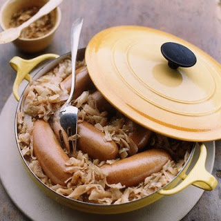 Knockwurst with Braised Cabbage and Apples.