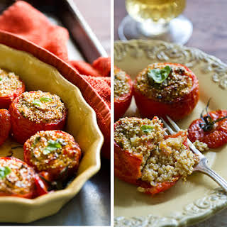 Stuffed Tomatoes with Quinoa, Soft Tofu, basil, shallots.