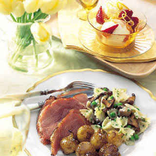Balsamic- and Dijon-Glazed Ham with Roasted Pearl Onions.