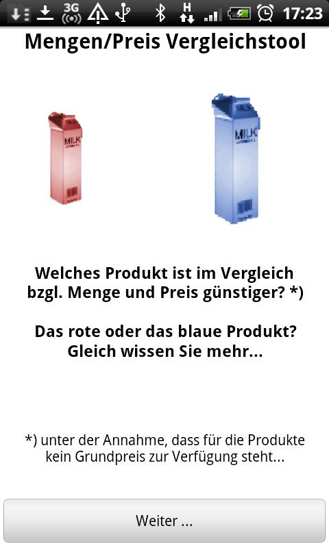 Mengen/Preis Vergleichstool - screenshot