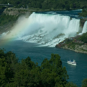 The American Falls by Lisa Wessels - Landscapes Waterscapes ( landmark, maid of the mist, falls, niagara, beauty, rainbow, mist,  )