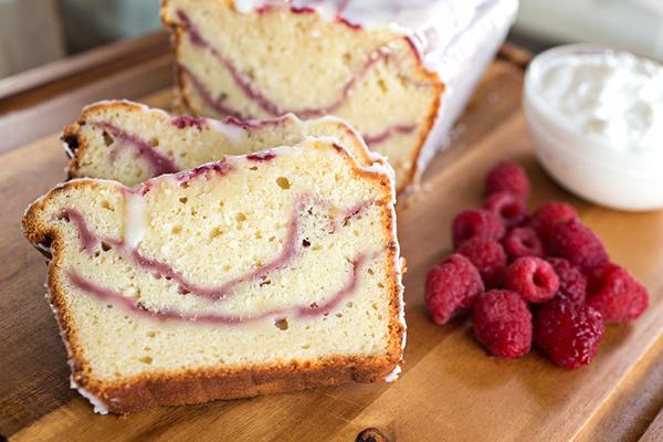 Fresh Raspberry Swirl & Greek Yogurt Cake with Tangy Yogurt Drizzle Recipe