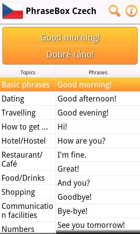 Phrasebook Czech- screenshot