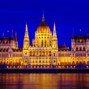 The Hungarian Parliament Building  by Mike Bing - Buildings & Architecture Public & Historical ( parliament, hungary, budapest, blue hour, historical, public, danube, city at night, street at night, park at night, nightlife, night life, nighttime in the city )