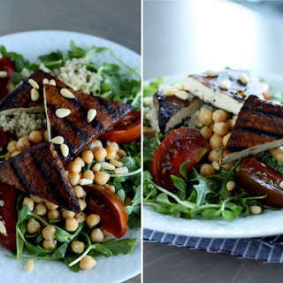 High Protein Salad With Garlicky Balsamic Tofu