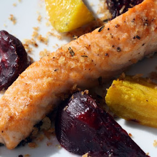 Crunchy Broiled Salmon with Beets