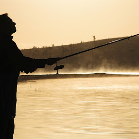 Fisherman by Manuel Silva - People Fine Art ( silhouete, nature, fog, fishing, people, silhouette )