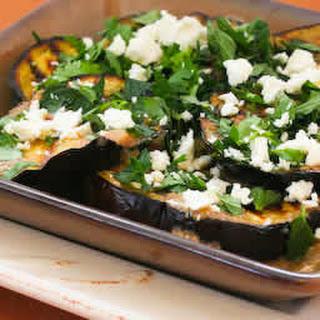 Grilled Eggplant with Garlic-Cumin Vinaigrette, Feta, and Herbs.