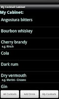 Screenshot of My Cocktail Cabinet