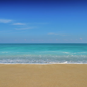 Empty Beach by Bo Chambers - Landscapes Beaches ( water, sand, clean, blue, desolate, calm sea, empty, solitude, quiet, beach )